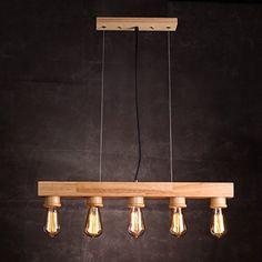 American Style industriel vintage Chandelier en bois du village de la mode européenne lustres lustres anciens en bois loft moderne minimaliste et cafe des industries de la création dans les pays nordiques pendentif barre DIA70*H9CM