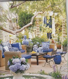 Love this! Major inspiration for my patio and porch. Hydrangea Hill Cottage: Blue and White Outdoors Room