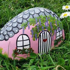 Fairy house painted rock #whanganuirocks #fairyhouse #paintedrocks #acrylic #ineedschooltostart