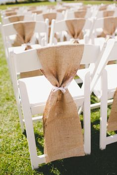 burlap chair sashes Rustic Wedding Decor Hire Hessian