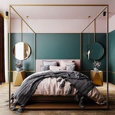 10 Bedroom Trends for 2019 - Schlafzimmer Design 2018 - Bedroom Decor Bedroom Wall Paint Colors, Art Deco Bedroom, Home Decor Bedroom, Bedroom Designs, Fancy Bedroom, Bedroom Furniture, Teal Bedroom Walls, Dark Teal Bedroom, Emerald Bedroom