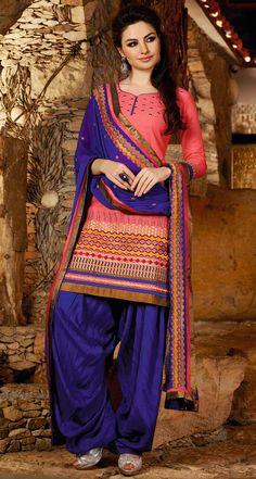 USD 31.68 Salmon Cotton Embroidery Punjabi Suit 44847