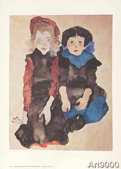 Egon Schiele - Zwei kleine Mädchen S20