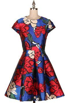 FLORAL PRINT SATIN FIT N FLARE DRESS.  #3A-YD3013