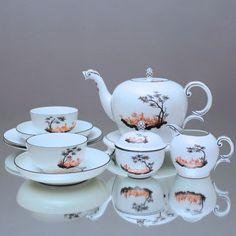 Nymphenburg: Teeservice Landschaft in Eisenrot und Schwarz 1628 Teetasse, tea cup, tea set, tea for two, Landscapes, coral red, black, China, Porcelain, Munich, Bavaria