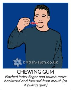 Today's #BritishSignLanguage sign is: CHEWING GUM