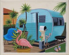 Mid Century Modern Eames Retro Limited Edition Print from Original Painting Trailer Flamingo via Etsy. Flamingo Art, Pink Flamingos, Flamingo Outfit, Flamingo Painting, Mid Century Modern Art, Mid Century Art, Retro Campers, Vintage Campers, Vintage Caravans