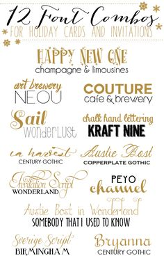 12 Font Combos for Holidays Cards and Invitations -