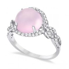 Frosted Rose Quartz & Diamond Cocktail Ring. #obsessed