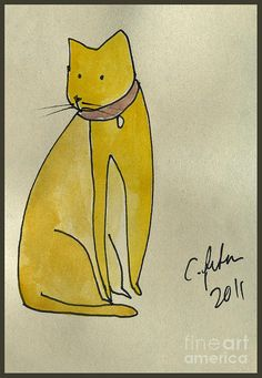 Yellow Cat.  Painting  - Yellow Cat.  Fine Art Print