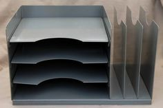Lit-ning vintage industrial steel desk top in & out paper tray w/ office file organizer