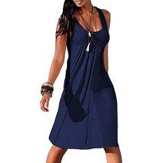 5fd778b74f MUQGEW summer color party dress Bottom Dresses Women Summer Sexy Solid  Sleeveless Plain Pleated Casual Mini