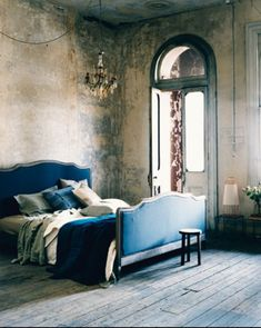 Shabby Chic Bedroom scheme # love the wall patina  # paint effect