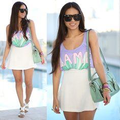 Sugar Tops Lame Shirt, Furor Moda White Skirt, Shoedazzle Sandals, Mimi Boutique Mint Bag, Zero Uv Sunglasses