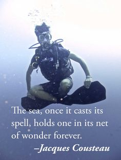 """I can relate to this on so many levels. Once you start scuba diving, there's no going back. """"The sea, once it casts its spell, holds one in its net of wonder forever. Scuba Diving Quotes, Jacques Yves Cousteau, Diver Down, Ocean Quotes, Cave Diving, Marine Biology, Snorkelling, Koh Tao, Open Water"""