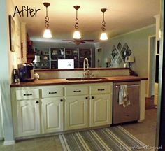 Kitchen re-do.  From oak cabinets and laminate countertops to old white and wood.