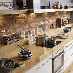Ladrillos y madera en #cocina para efecto #rustico