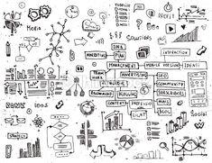Vector Art : Social network doodles - hand drawn set of media elements.