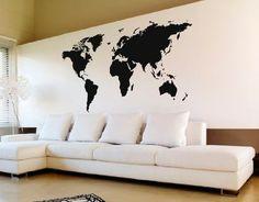 Vinilo Mapamundi Planisferio Mundo Gigante Con Envío Gratis! Office Walls, Living Room Interior, My Room, My House, Wall Decor, Wall Art, New Homes, House Design, Wallpaper