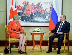 The Russian president, Vladimir Putin, meets Britain's prime minister, Theresa May, at the G20 leaders summit