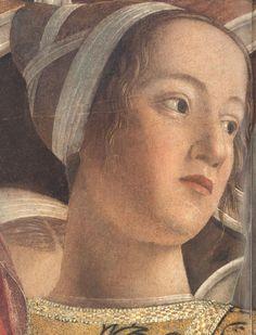 """Barbara Gonzaga, figlia di Ludovico, in un dettaglio della scena """"La corte"""" nel ciclo pittorico di Andrea Mantegna, datato tra il 1465 e il 1474."""