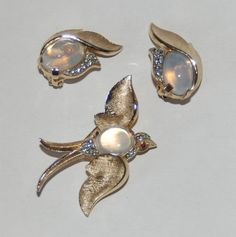 1960's TRIFARI Fantasies Bird Brooch & Earrings- Opal Moonstone Cab- Rhinestones in Jewelry & Watches, Vintage & Antique Jewelry, Costume, Designer, Signed, Sets | eBay