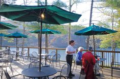 A couple enjoys dinner together at the Lakeview Restaurant in Douthat State Park