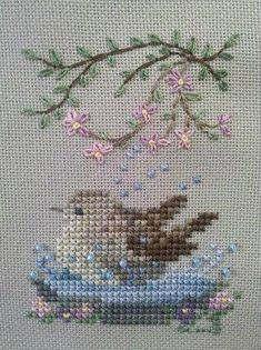 Thrilling Designing Your Own Cross Stitch Embroidery Patterns Ideas. Exhilarating Designing Your Own Cross Stitch Embroidery Patterns Ideas. Cross Stitch Cards, Cross Stitch Animals, Cross Stitch Flowers, Cross Stitching, Bird Embroidery, Simple Embroidery, Cross Stitch Embroidery, Embroidery Patterns, Cross Stitch Designs
