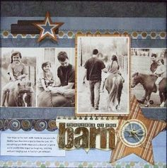 "#papercraft #Scrapboook #layout.     ""Together at the Barn"" from Fancy Pants Designs...."