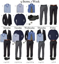 Handy, I'd add another shirt, another sport coat/blazer, brown dress shoes to match brown belt, 1 more pair of slacks and 2 more ties then your all set for a minimum wardrobe that works well