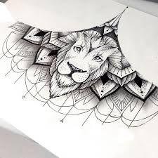 Lion sternum / underboobs tattoo