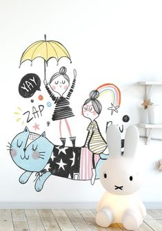 Studio Loco is a children's lifestyle brand, designing and selling contemporary nursery decor. Kids Room Design, Baby Design, Mural Art, Wall Murals, Contemporary Nursery Decor, Bed Stand, Art Wall Kids, Kidsroom, Kids Decor