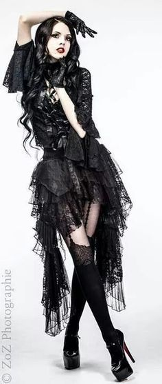 Gothic glam. Goth. Goths. Women. Girls. Alternative fashion model. Models. Dark