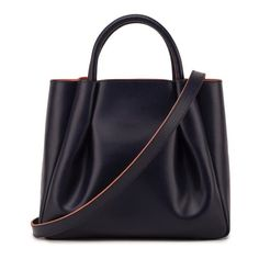 Alexandra de Curtis - Maxi Ruched Tote Navy ($795) ❤ liked on Polyvore featuring bags, handbags, tote bags, top handle handbags, navy purse, navy blue tote, over the shoulder purse and blue tote