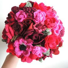 Pink and Red Felt Crochet Wedding Bouquet. $250.00, via Etsy.  Maybe I can make this! Wouldn't that be impressive!