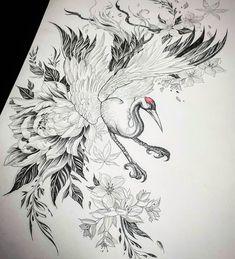Dove Tattoo Design, Phoenix Tattoo Design, Tattoo Designs, Japanese Crane, Japanese Art, Crane Tattoo, Back Tattoo, Tattoo Art, Asian Tattoos