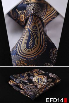 100%Silk Paisley Jacquard Woven Men Tie Necktie Pocket Square Set