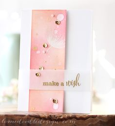 Ink blending over white embossing (Worn Lipstick DI & HASft Cantaloupe), then spritzed with Perfect Pearls mixed with water, a few drips of the same and then a good splatter of gold Heidi Swapp colour shine, and gold embossed sentiment on vellum