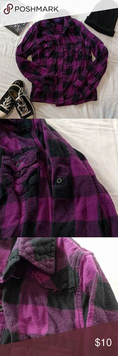 Purple Flannel Shirt *Purple Flannel Shirt *100% Cotton *Sized Junior's Large *More of a plum color with violet and black accents *Features a button to roll up the sleeves and two small front pockets *Looks great with converse and a beanie! *Used, in good condition, only worn about 10 times, some pills and one seam tear pictured  Please feel free to make offers or ask questions!  xoxo Karlynn [: Tops Button Down Shirts
