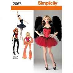 Simplicity Womens ballerina, devil, super hero & disco corset costumes. 2067