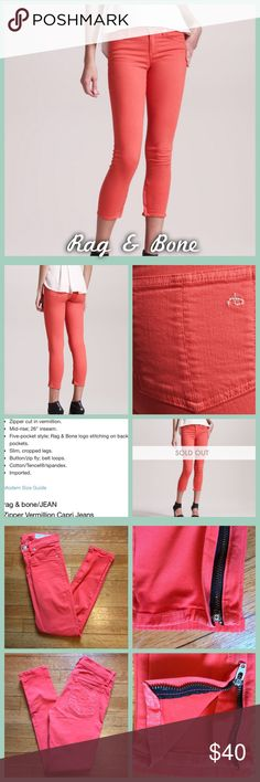 Rag & Bone Jeans Size 24 Vermillion (close to a melon color) Zipper capri by Rag & Bone in god used condition. Some slight fading in spots like the pocket seam, as shown in last photos. •I'm open to offers on all items!• rag & bone Jeans Ankle & Cropped