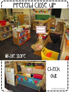 Grocery store in the pretend/dramatic play center! How to set it up and integrate math and literacy skills too! Pocket of Preschool