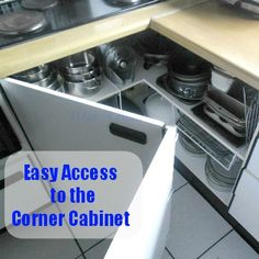 Small Kitchen Makeover Open Up The Kitchen Corner Cabinet ~ Easily create access to that awkward corner cabinet with a small trick Kitchen Corner Cupboard, Kitchen Redo, Kitchen Pantry, Kitchen Remodel, Kitchen Design, Corner Cabinets, Upper Cabinets, Kitchen Ideas, Kitchen Units