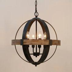 Rustic Chandelier, Wood Chandelier, Farmhouse Chandelier Lighting, Light Bulb Candle, Pendant Lamp, Orb Chandelier, Wooden Pendant Lamp, Ceiling Lights, Globe Chandelier