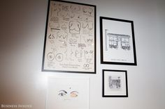 """The walls around the office are covered in irreverent art. Here's a framed illustration of a New York Magazine feature, entitled """"NY Women Draw Their Own Boobs."""""""
