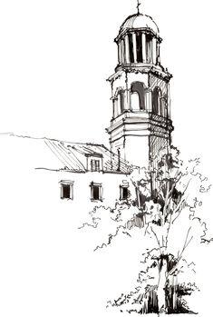 Architecture Drawing Sketchbooks, Watercolor Architecture, Art Drawings Sketches Simple, Ink Pen Drawings, Doodle Art Drawing, Painting & Drawing, Landscape Sketch, Pen Sketch, Urban Sketching