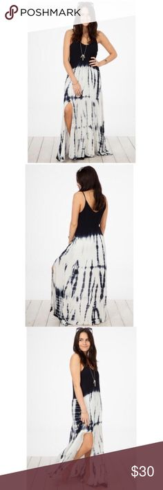Dress Spaghetti strap(adjustable) tie dye dress in navy blue and white with thigh slit and short lining underneath. Fabric: Self 100% Rayon, Lining 100% Cotton. Never worn Peach love Dresses Maxi