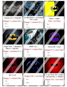Batman Valentines Day Cards Sheet #4 (instant download or printed)