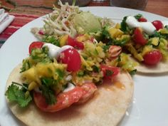 Shrimp tacos w/ mango pineapple salsa and citrus slaw