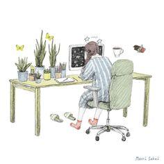 """La artista japonesa Maori Sakai, consigue sacar nuestro lado más ñoño con los bonitos GIFs animados que nos enseña en su web. Pasión por el café y felicidad a raudales es lo que nos transmite Maori con su colección de trabajos donde lineas de trazo irregular se unen para convertirse en las ilustraciones mas """"cute"""" que vais a ver a lo largo del día."""